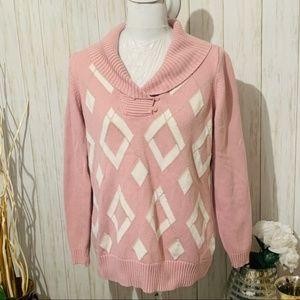 Liz Claiborne Argyle Cowl Neck Sweater Size 1X
